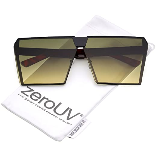 c6fcea62a0 zeroUV - Modern Oversize Semi Rimless Gradient Color Flat Lens Square  Sunglasses 69mm (Black