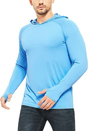Safort Men's UPF 50+ Sun Protection Hoodie Long Sleeve T-Shirt for Running, Fishing, Hiking