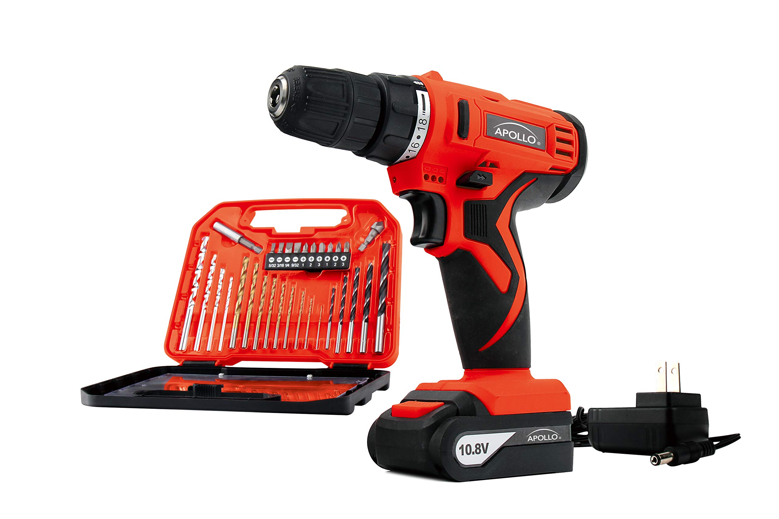 Apollo Tools DT4937 Powerful 10.8 V Lithium-Ion Cordless Drill with 30 Piece Drill Bit Set, Red