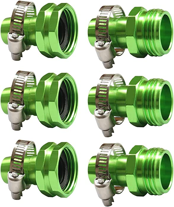 PLG Garden Hose End Repair Kit,Green,3 Femals + 3 Males