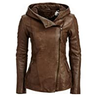 Blaq Ash Women's Casual Faux Leather Hooded Jacket