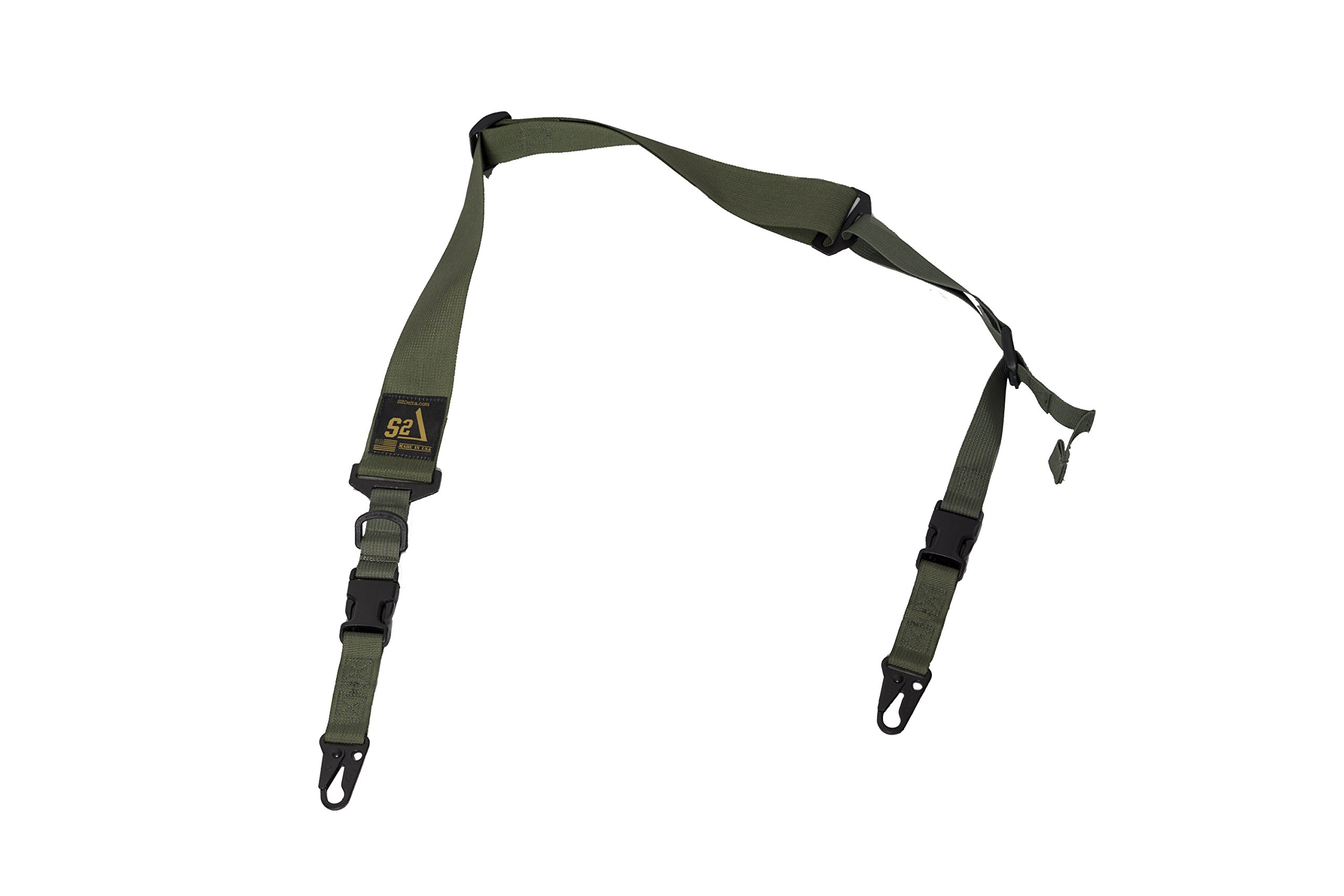 S2Delta - USA Made 2 Point Rifle Sling, Quick Adjustment, Modular Attachment Connections, Comfortable 2'' Wide Shoulder Strap to 1'' Attachment Ends (Green with C.L.A.S.H. Hooks) by S2Delta