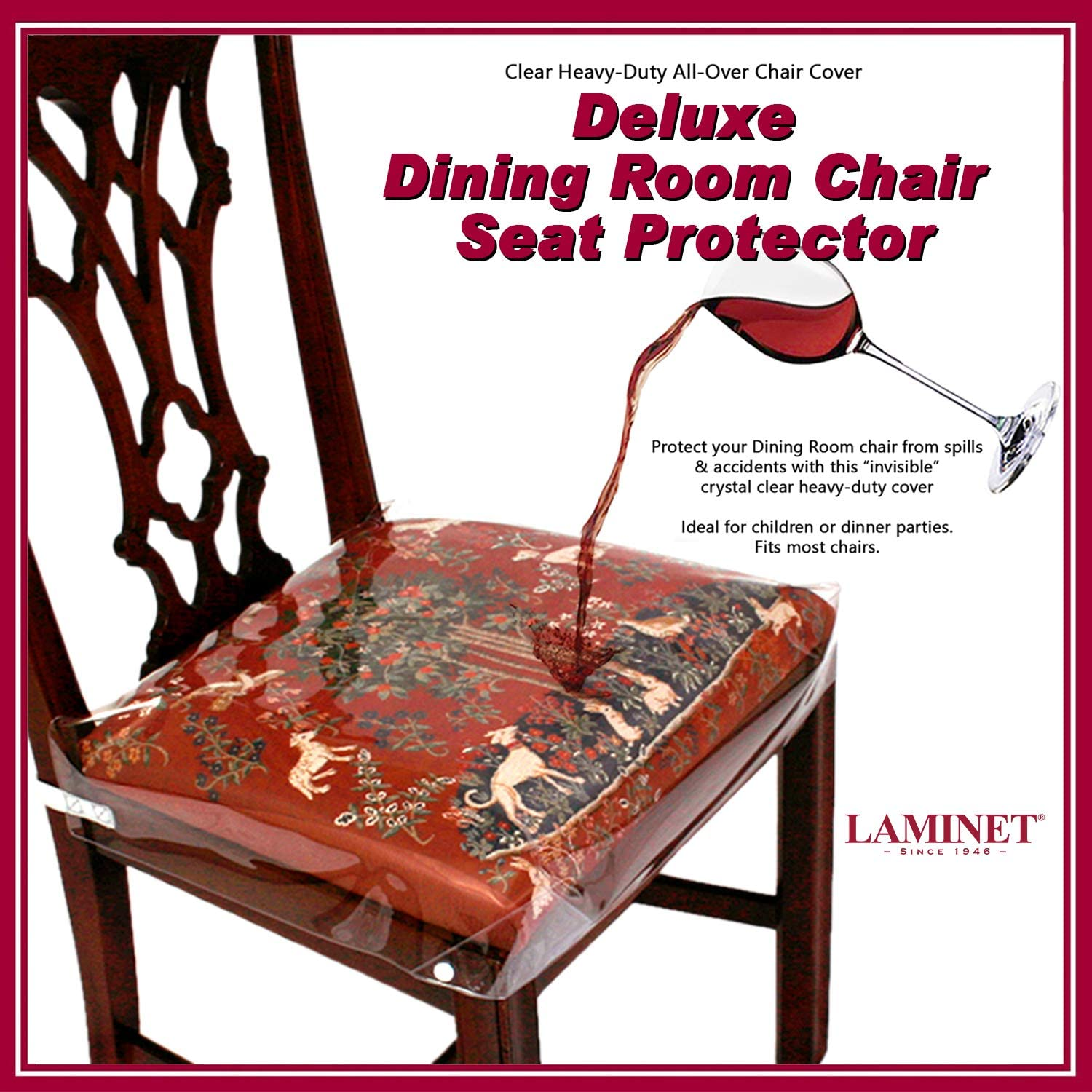 Amazon Com Laminet New Improved Deluxe Heavy Duty Waterproof Spill Resistant Removable Crystal Clear Plastic Adjustable Patented Chair Seat Protector Fits Chair Seats Up To 21 X 21 Set Of 2 Kitchen