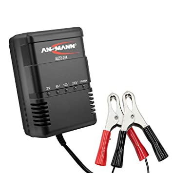 ANSMANN Cargador de batería para pequeños vehículos - 2V, 6V, 12V y 24V pilas de plomo - a partir de 1,3 Ah - Corriente de carga 300mA - 900mA