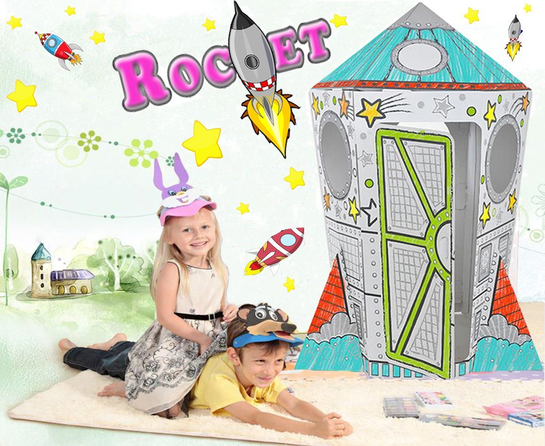 Littlefun Children Premium Cardboard Play House Child Foldable Corrugated Paper Oversize Rocket Aircraft Playhouse Kid DIY Painting Toy Markers Included