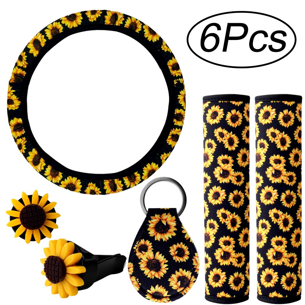 6PCS Sunflower Accessories for Car Cup Holder Coaster Style 1