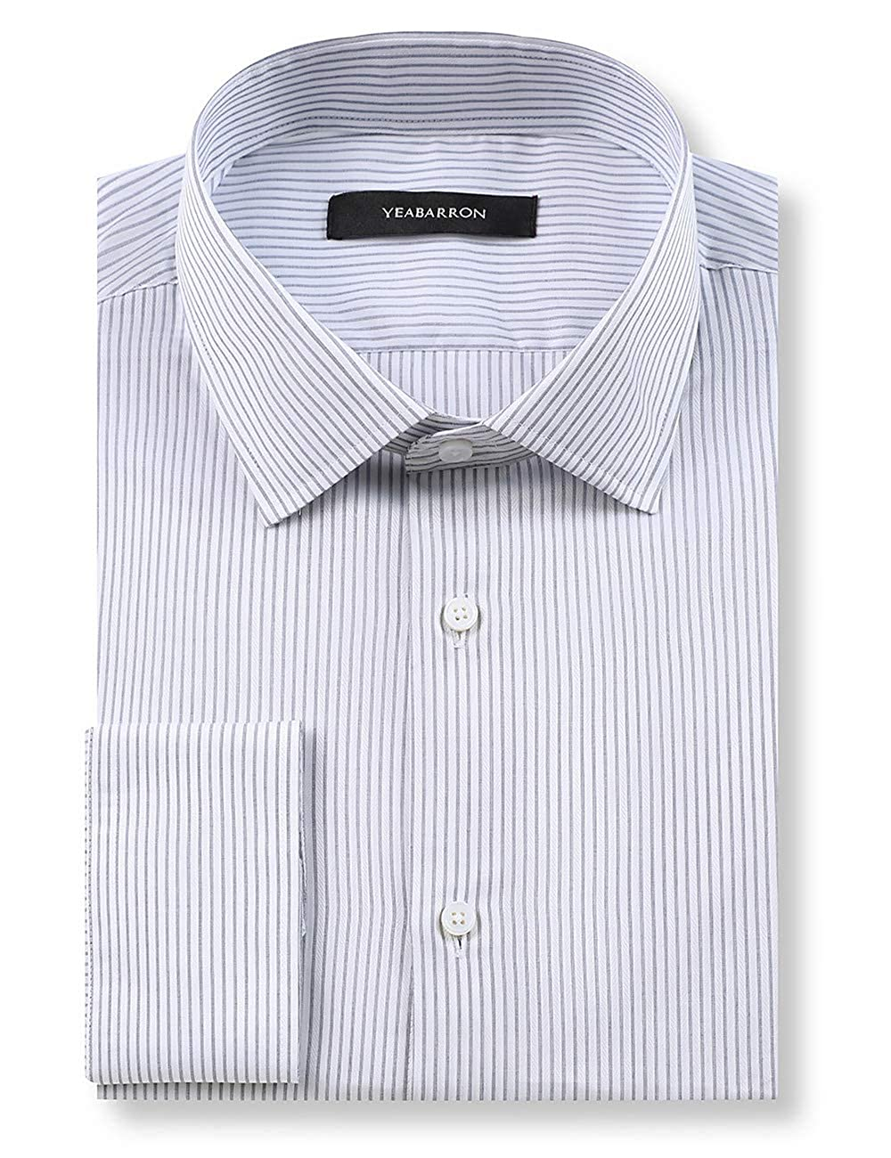 Amazon Yeabarron Custom Grey Stripe Slim Fit Long Sleeve
