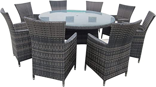 Juego de mesa y sillas para jardín de mimbre para todo tipo de clima, mesa redonda y sillas para jardín (marrón/9 piezas/8 asientos): Amazon.es: Jardín