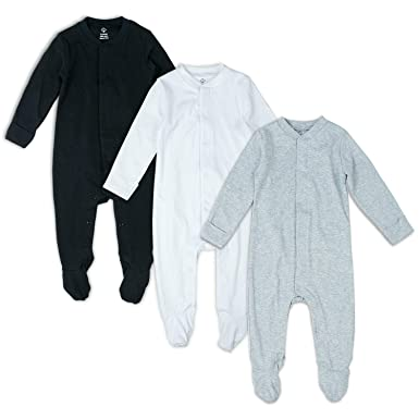 5685998041da0 OPAWO Solid Color Unisex Baby Footed Sleeper Pajamas with Mitten Cuffs  3-Pack 0-18 Months