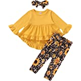 Baby Girl Clothes Toddler Girl Sunflower Outfit Ruffle Sleeve Shirt Floral Pant Set Fall Winter Clothing for Girl