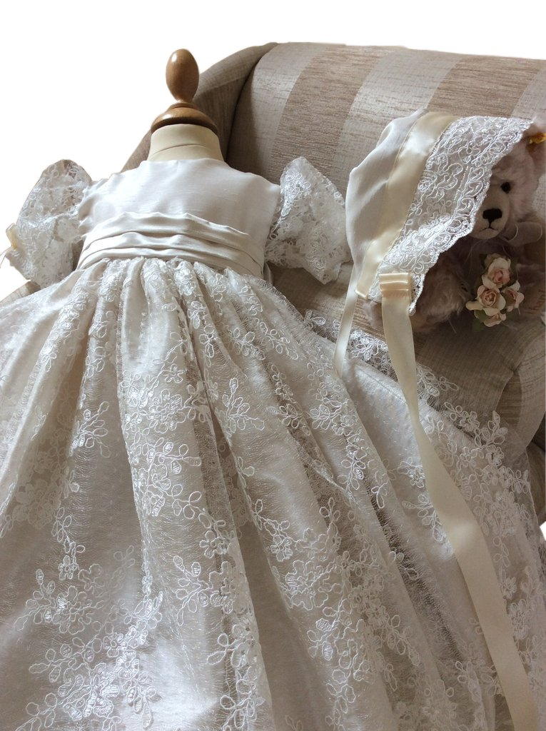 Pretydress Lace Long Christening Baptism Dress For Baby Girl With Bowknot and Bonnet (Ivory, 18-24 Months) by Pretydress