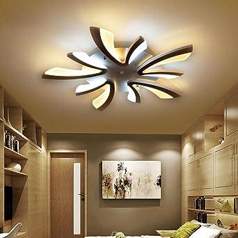 8W LED Modern Deckenleuchte Elegante Wohnzimmer Schlafzimmer Deckenlampe  Romantische Warm 8-Flammig Deckenbeleuchtung Schwarz Acryl Lampenschirm