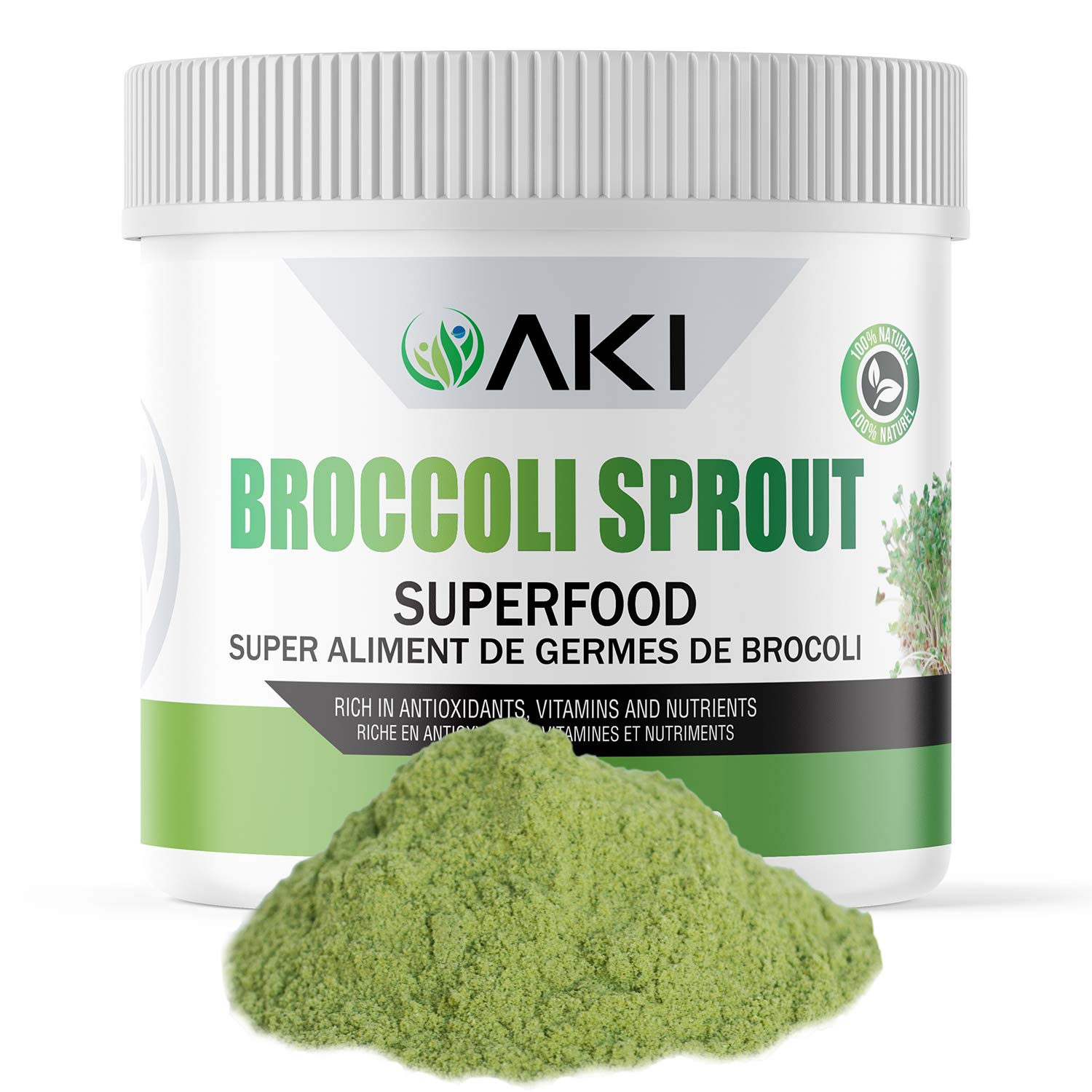 Aki Natural Broccoli Sprout Powder Sulforaphane Ideal For Your Greens Veggie Smoothie Or As A Supplements Of Sprouts From Non Gmo Brocolli Seeds Pack Of Vitamins & Antioxidant (5.29oz / 150g)