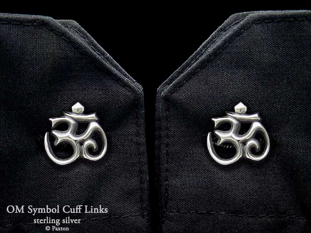 OM Symbol Cuff Links in Solid Sterling Silver Hand Carved & Cast by Paxton