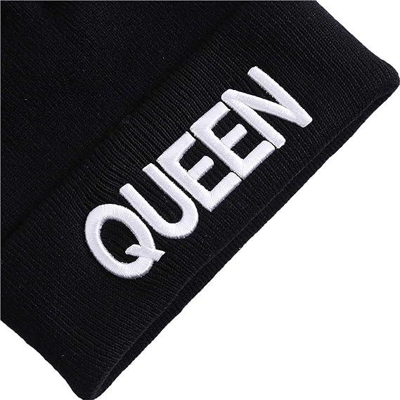 b64686001372 Amazon.com: King Queen Beanie Men Women Stocking Hat Beanies Skullies Winter  Hats Cap Knitted Hiphop Hat Female Couple Warm Winter Cap Black,981613 Queen:  ...