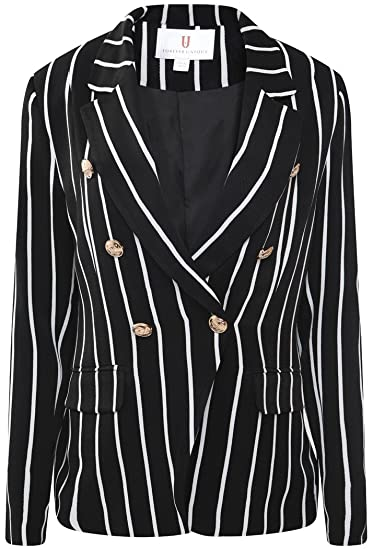 29559f5dcccca Forever Unique Women's Cara Striped Blazer with Military Buttons -  Black/White ...