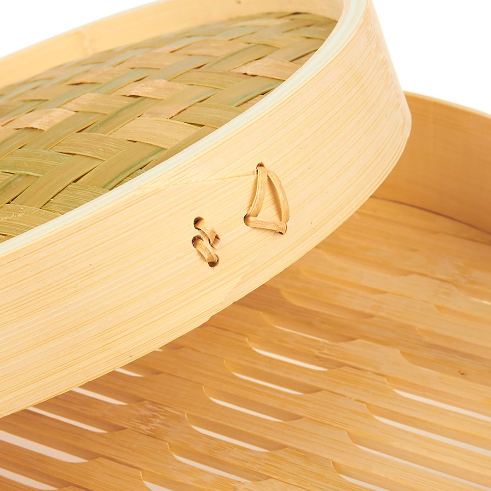 Natural Bamboo Steamer Basket - 3 Piece Set Dim Sum Bamboo Steamers, Great for Asian Cooking, Buns, Dumplings, Vegetables, Fish, 10 x 6.2 x 10 Inches by Juvale (Image #4)