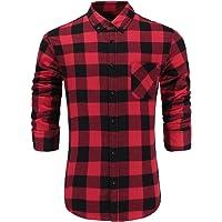 Emiqude Men's 100% Cotton Slim Fit Long Sleeve Button-Down Plaid Dress Shirt