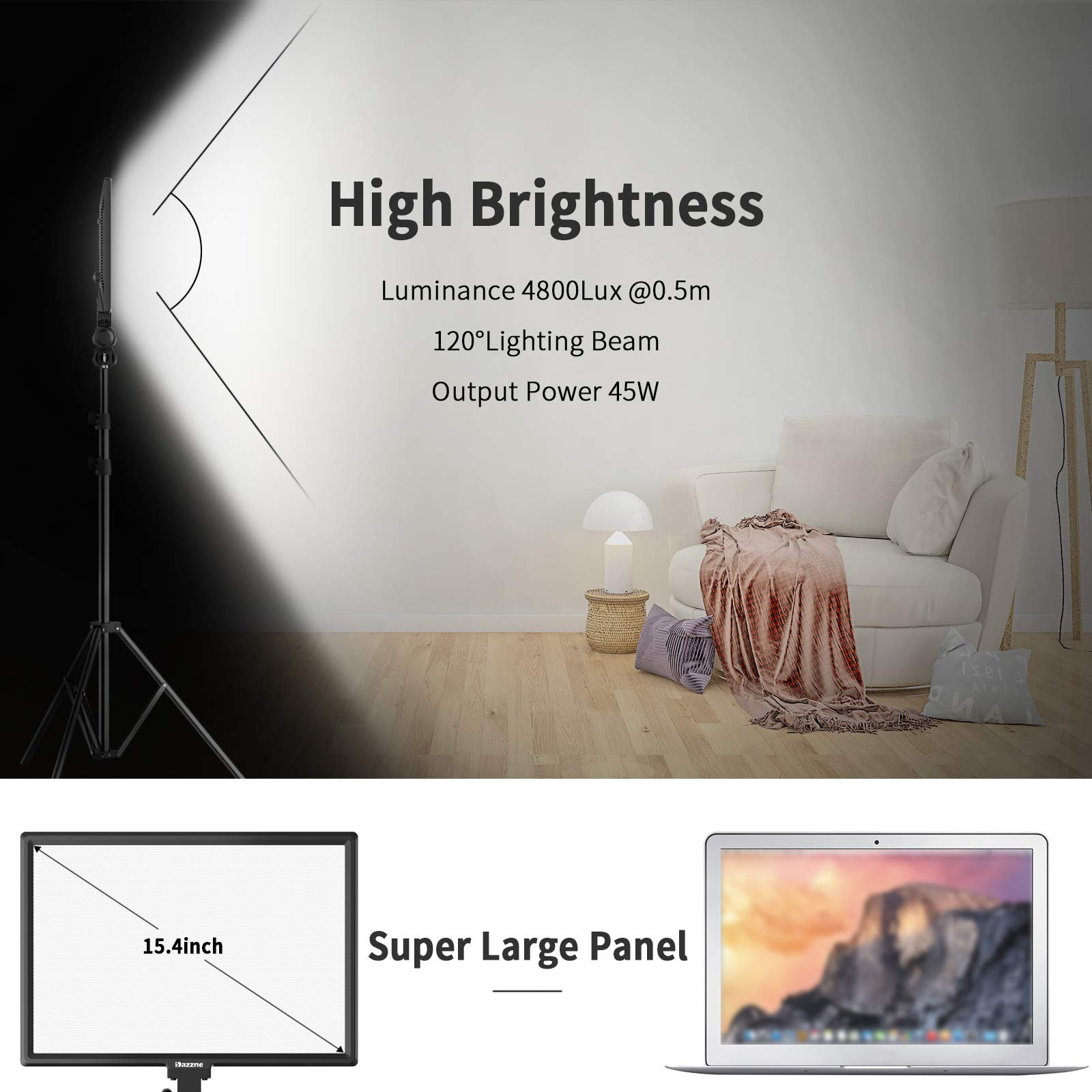 Bi-Color LED Video Light Stand Lighting Kit 3 Pack 15.4'' Large Panel 3000K-5800K 45W 4800LM Dimmable 1-100% Brightness Soft Light for YouTube Game Video Shooting Live Stream Photography Lighting by Dazzne (Image #5)