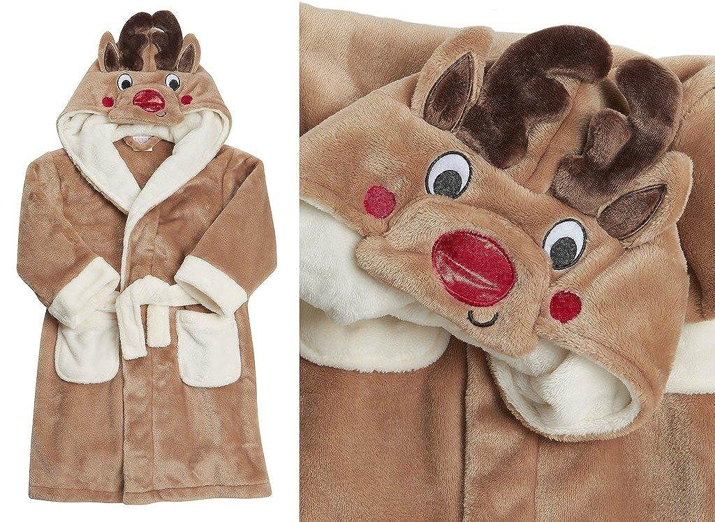 Jungen Mädchen Bademantel 100/% Luxus Flanell Fleece Kinder Weihnachten Rentier