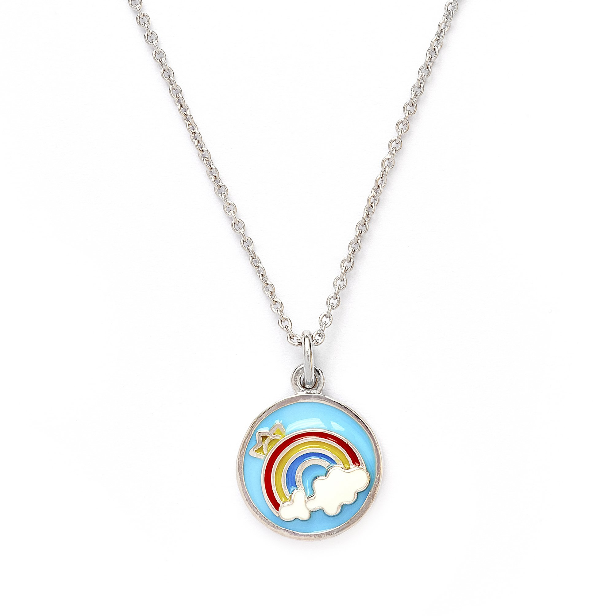 Girls Silver Rhodium Plated Wishes Rainbow Pendant Expandable Necklace