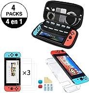 Nadole kit de accesorios Nintendo Swich  4 en 1 con Funda Nintendo Switch, Carcasa Transparente Joy-Con y Consola, 2 Protect