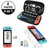 NDOOL Kit de Accesorios Nintendo Swich 4 en 1 con Funda Nintendo Switch, Carcasa Transparente Joy-con y Consola, 3 x Protecto