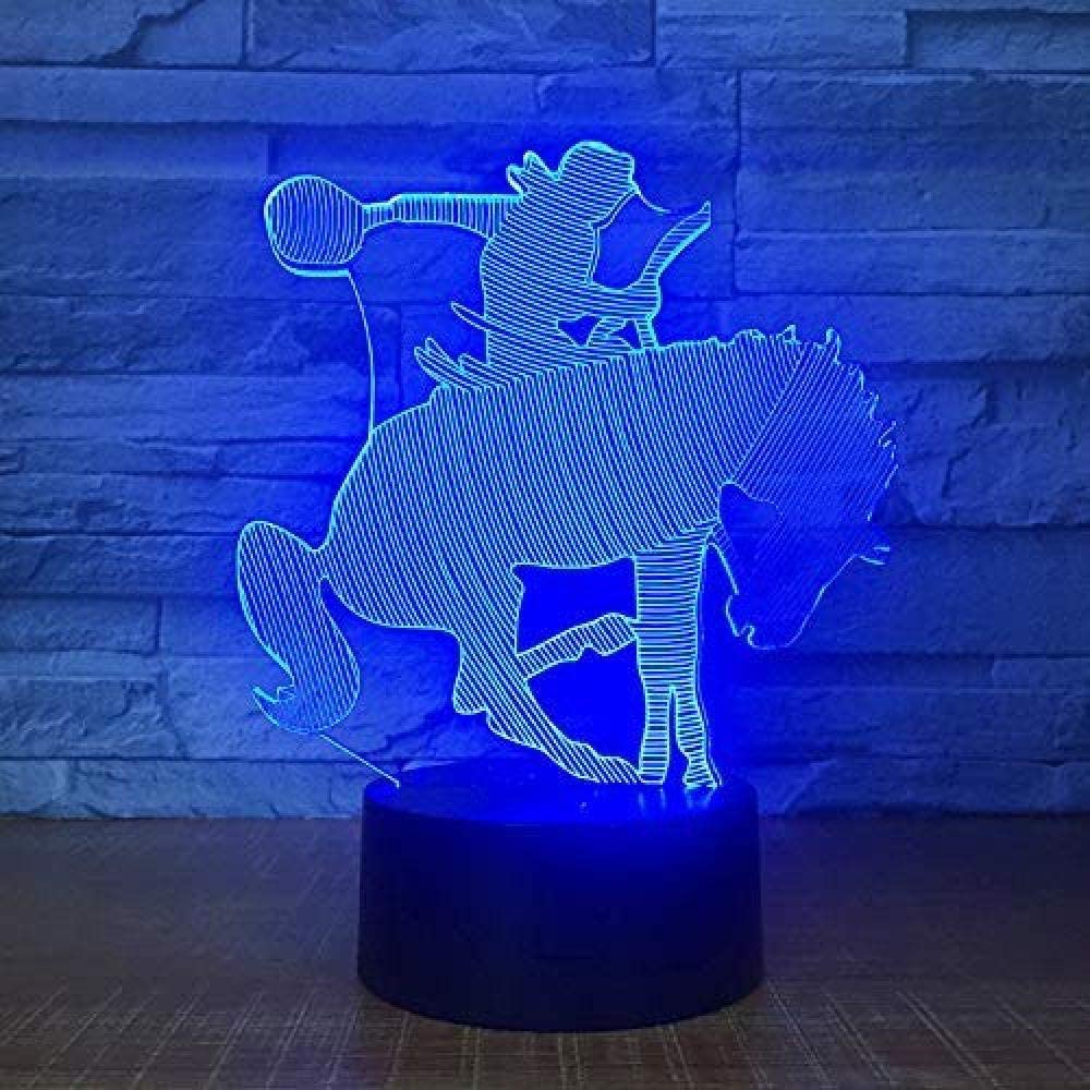 giyiohok de caballos Modelo de doma Lámpara de ilusión óptica Lámpara de color LED Lámpara 3D Luz nocturna Lámpara atmósfera acrílica Lámpara moderna de 7 colores Decoración para el hogar infantil