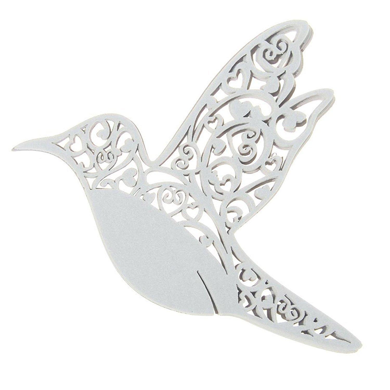 Sungpunet Lot de 50Laser Cut Blanc Hummingbird Nom Place Cartes pour verre de vin Arts papier PHT FEMDBUFJBJB006