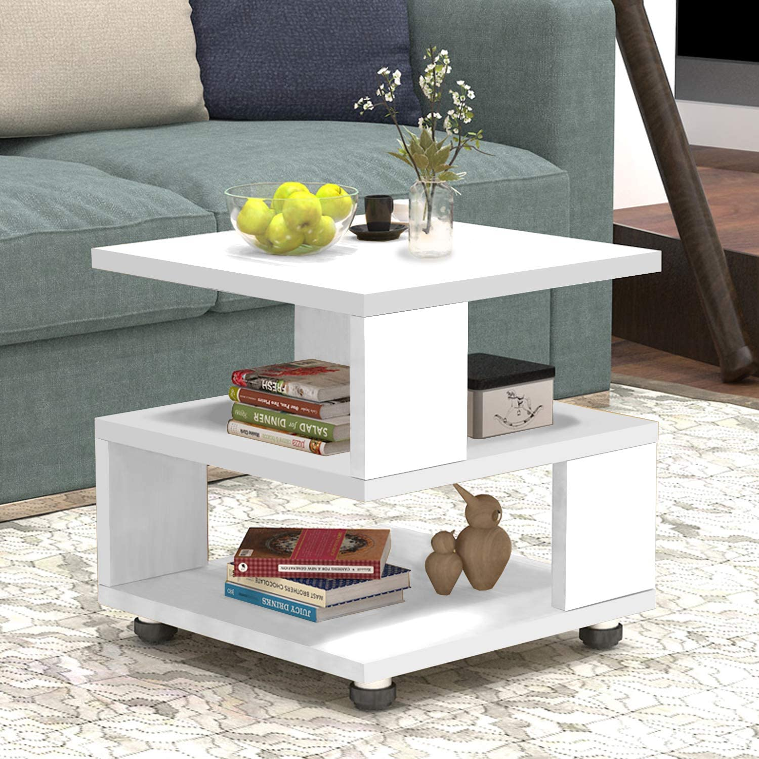 JERRY MAGGIE – Magic Cube Nightstands Japanese Tatami Classic Modern Style – 2 Tier Rectangle Hallow Design Night Stand Storage Bedside Table Storage White