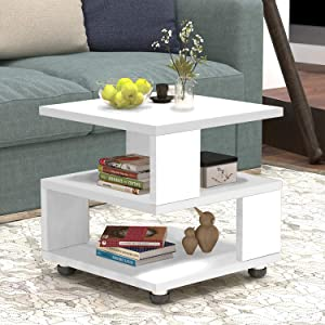 Jerry & Maggie - Magic Cube Nightstands Japanese Tatami Classic Modern Style - 2 Tier Rectangle Hallow Design Night Stand Storage Bedside Table Storage White