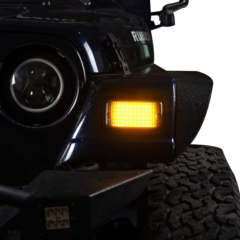 Hooke Road Jeep Wrangler Smoke Turn Signal Lights w/Amber LED for 1997-2006 Jeep TJ