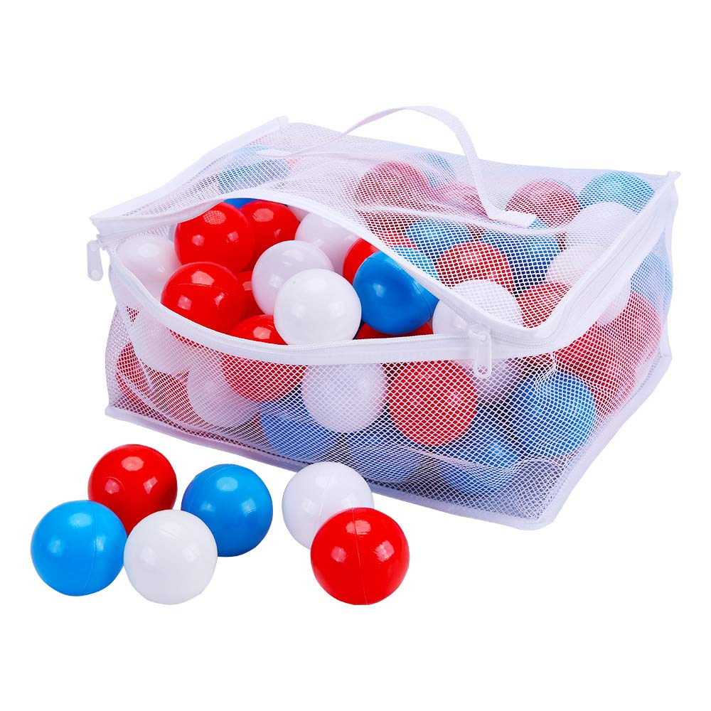 PlayMaty Pack of 100 Colorful Ocean Ball Plastic Ball Kids Swim Pit Fun Toy White and Yellow 100 Pieces Balls with Storage Bag for Baby Playhouse Pool Birthday Party Decoration (Blue+White+Red)