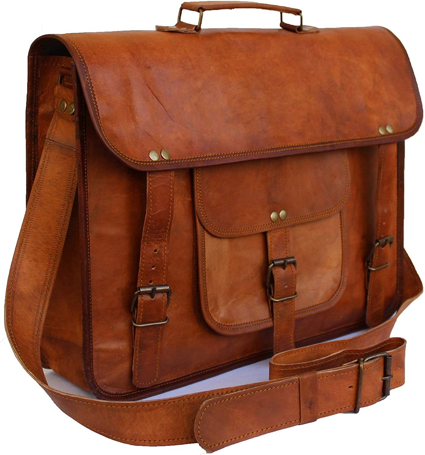 Prastara 15 Inch Vintage Men s Leather Handmade Briefcase Best Laptop Messenger Bag Satchel shoulder bag Brown