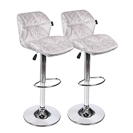 PULUOMIS Bar Stools Modern Hydraulic Adjustable Swivel Barstools,Flannel Padded with Back, Dinning Chair with Chrome Base,Set of 2,White Flannel