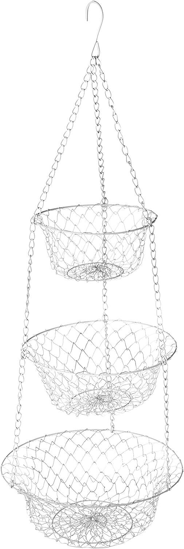 Fox Run White 3-Tier Kitchen Hanging Fruit Baskets, 32 Inches