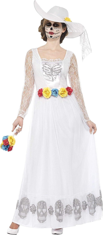 Smiffys Disfraz de Esqueleto de Novia del día de Muertos, Blanco, con Vestido, Sombrero