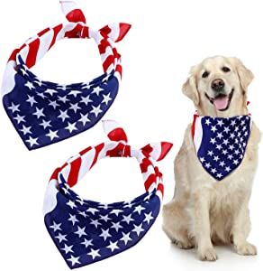 Ruisita 3 Pack American Flag Dog Bandana USA Flag Pet Bibs Scarf Bandanas Patriotic Dogs Cats Kerchief for Small to Large Dogs Cats Pets