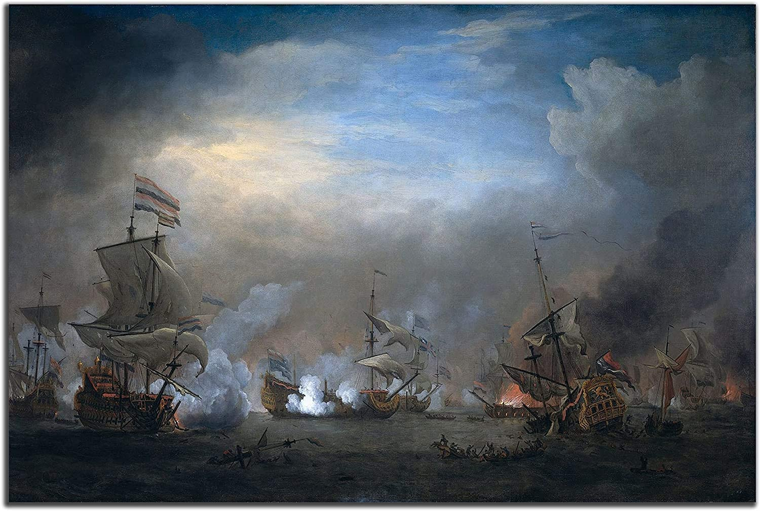 HOTSPEED Oil Paintings Poster 1 Piece Historical Ship Naval Battle Prints Picture Landscape Wall Decor Paintings on Canvas Framed to Hang for Home Decor Bedroom Decor 16x24inch(unframed)
