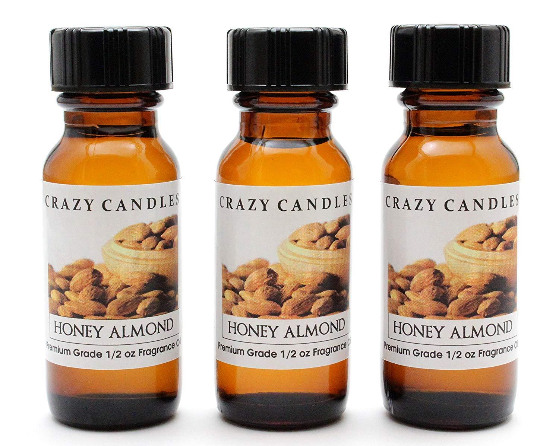 Crazy Candles Honey Almond (Made in USA) 3 Bottles 1/2 FL Oz Each (15ml) Premium Grade Scented Fragrance Oil