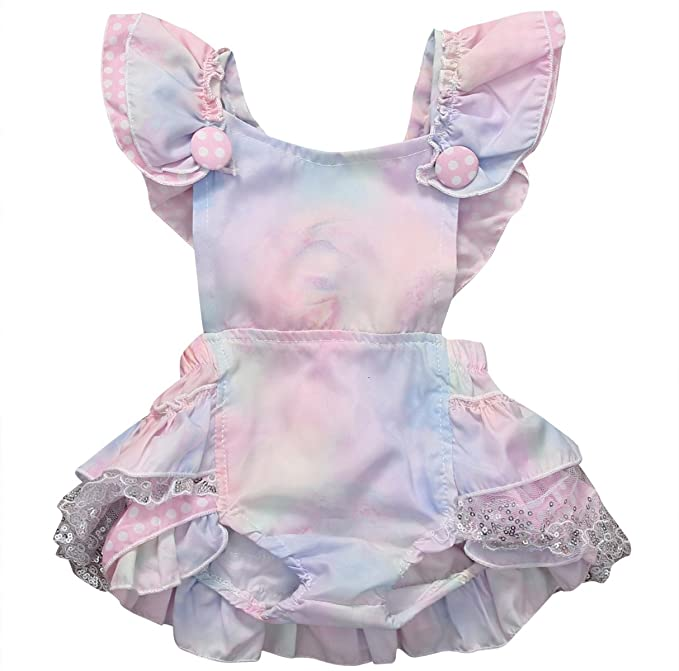 b6d47c6d1b5aa Inflant Baby Girls Clothing Gradient Ruffle Cross Back Bow Romper Jumpsuit