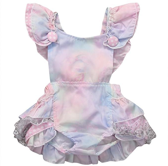 2f79b6c8b Amazon.com  Inflant Baby Girls Clothing Gradient Ruffle Cross Back ...