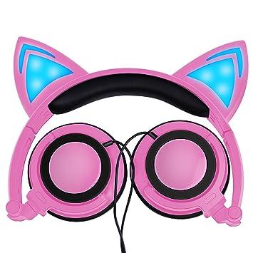 Auriculares Lobkin para niños, de moda, con forma de gato. Cascos