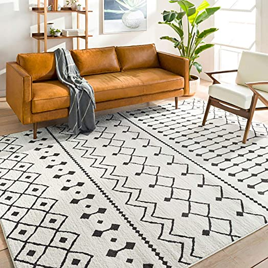 Ringwood 8 10 x 12 Moroccan Farmhouse Shag – Black, Charcoal, White Bohemian Area Rug – Rectangle – Polypropylene and Polyester Blend