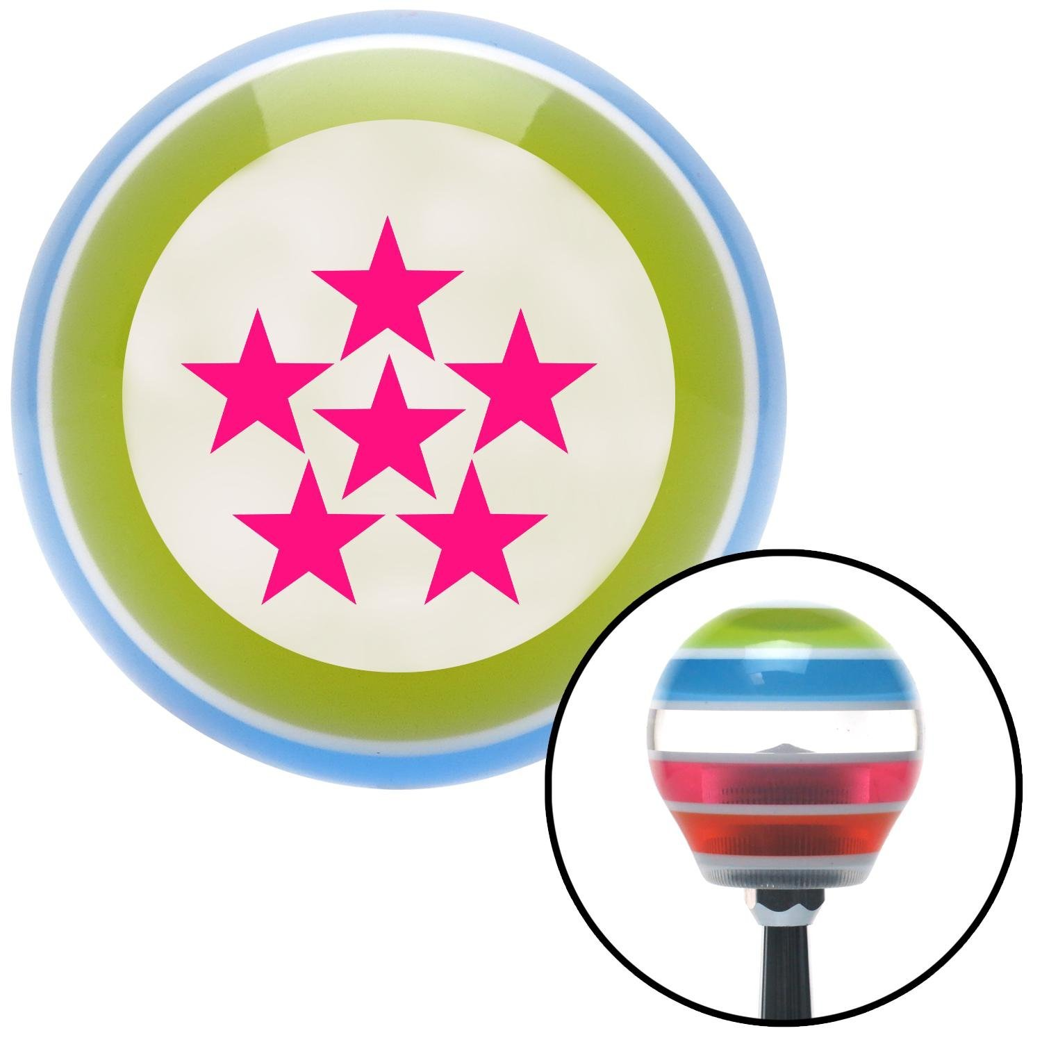 Pink 6 Star Formation American Shifter 134647 Stripe Shift Knob with M16 x 1.5 Insert