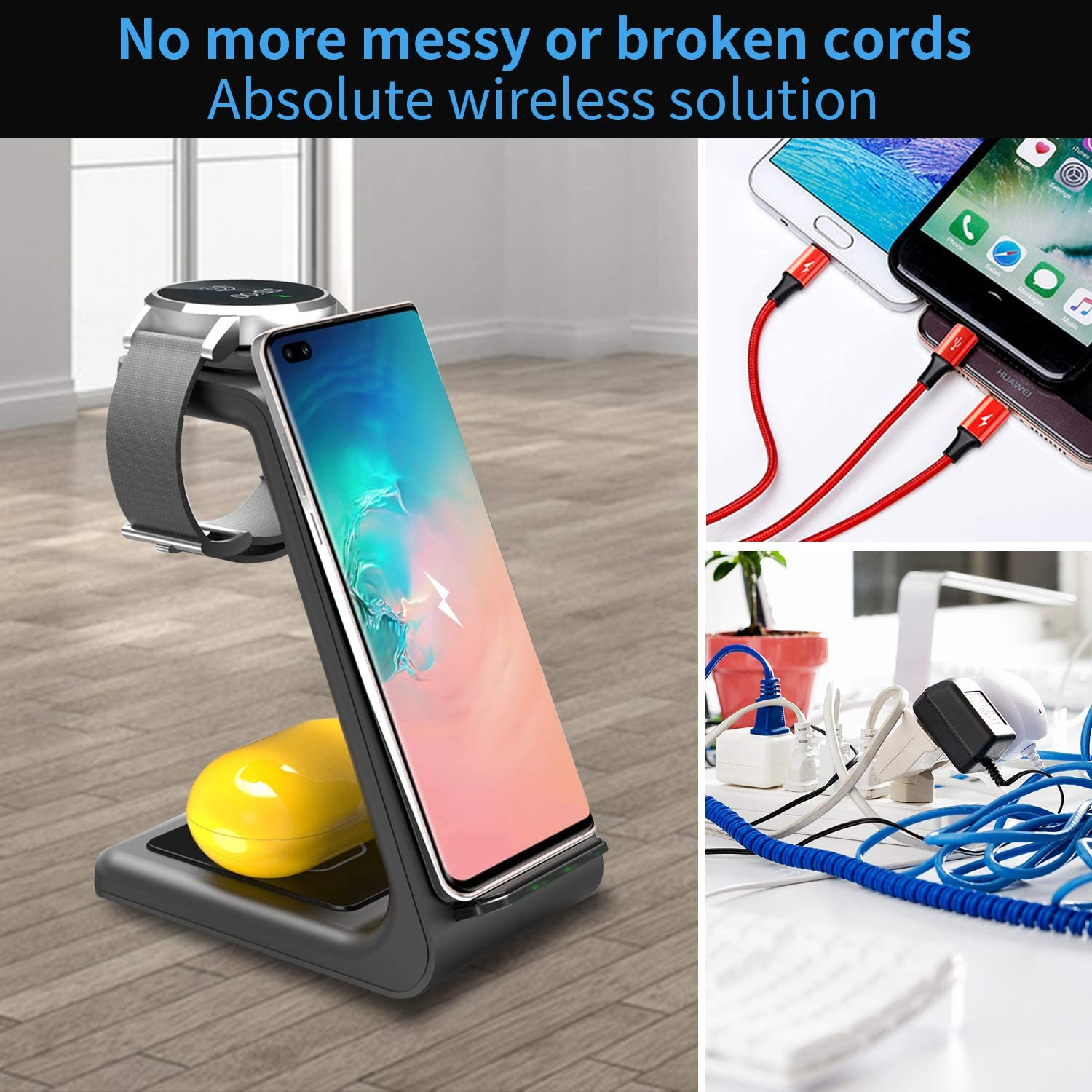 Galaxy Watches and Buds Wireless Charger Compatible with iPhone 11 Series//XS//XR//X// 8//8 Plus Huawei ZHIKE 3 in 1 10W Fast Charging Qi-Certified Not for Apple Watch Airpods Samsung S10// S10+