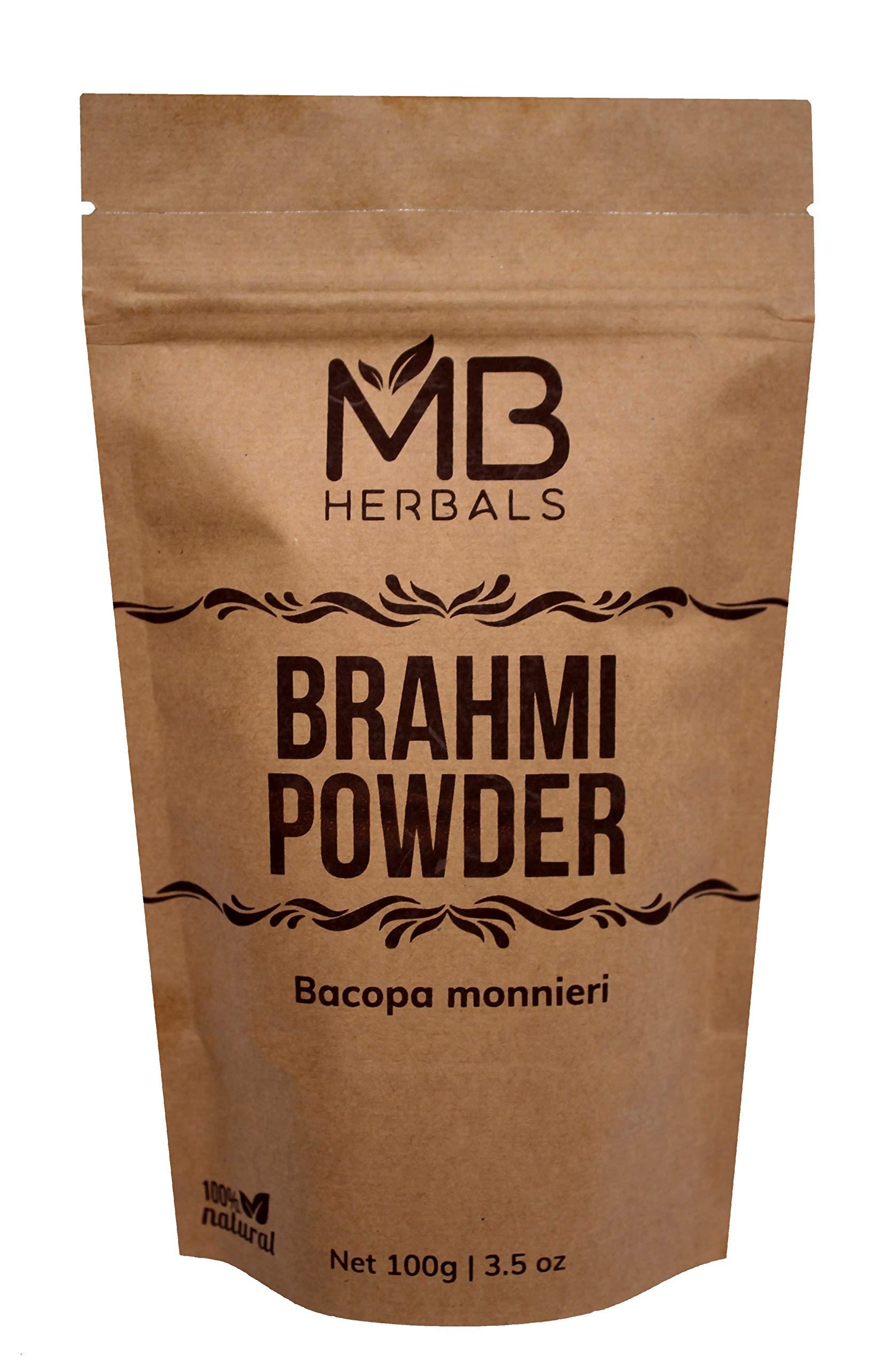 MB Herbals Pure Brahmi Powder 100g | 3.5 oz | 100% Pure Bacopa monnieri Powder | Promotes Hair Growth | Memory | Alertness