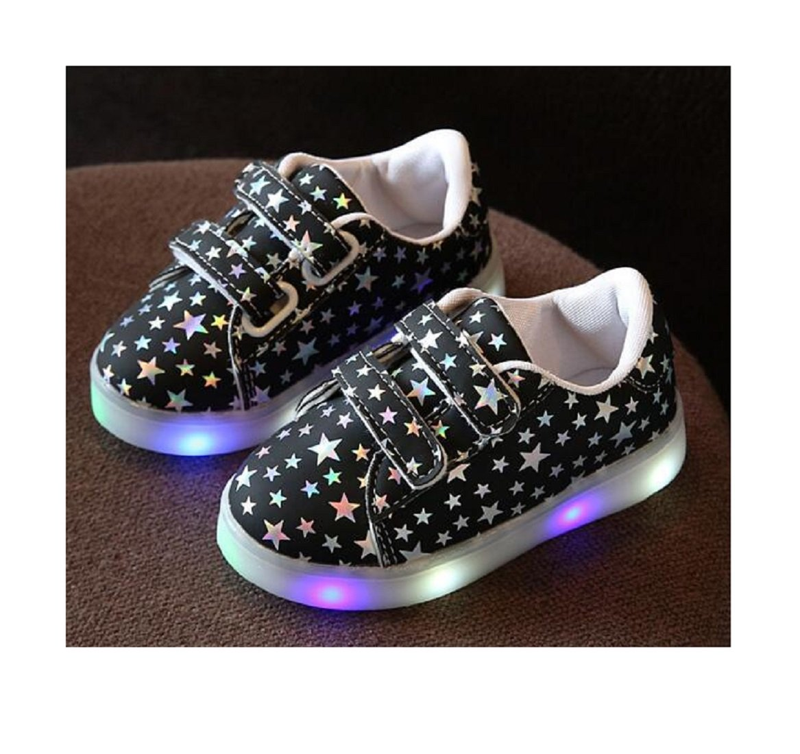 Children Shoes With Light Chaussure Led Enfant Spring Autumn New Stars Led Girls Shoes Sports Breathable Boys Sneakers Shoes 10, Black