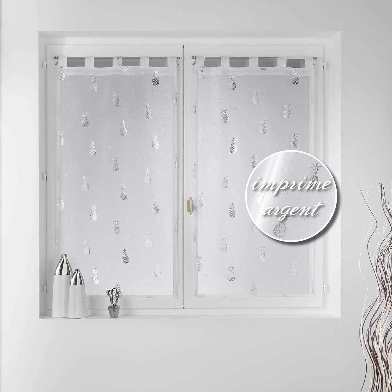 douceur dint/érieur paire droite passants 2x60x160cm voile sable metallise samba blanc//argent