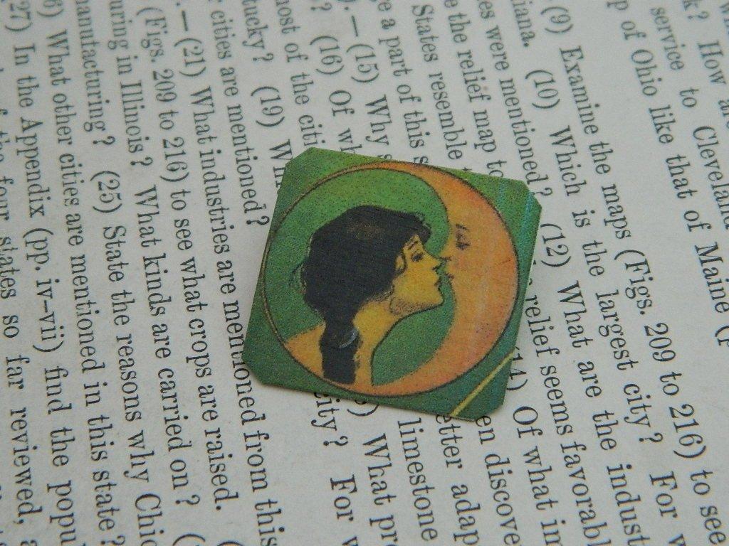 Art brooch Victorian Lady Kissing the Moon lapel pin art brooch